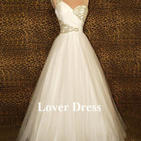 A Line Wedding Dresses, White One Shoulder Satin and Tulle Wedding Dresses / Wedding Gowns