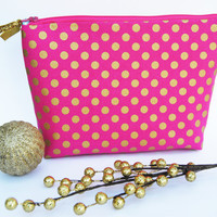#Hot #pink and #gold #dot #cosmetic #case, makeup bag, gadget organizer, zipper pouch, pencil case