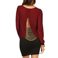Burgundy Chain Back Blouse