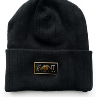Mint Lambs Wool Beanie Square Logo