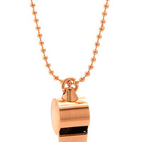 King Ice Rose Gold Stainless Steel Whistle Necklace
