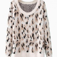Leopard Print Mohair Knit Sweater