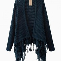 Blue Knit Draped Sweater with Fringe Hem Detail
