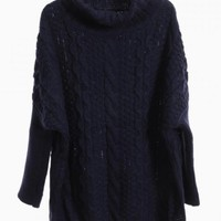 Navy Oversized Turtleneck Cable Knit Sweater