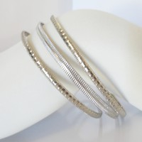Set of 3 - Silver Tone Stacking Bangles Bracelet