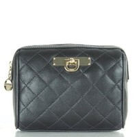 DKNY Black R3328202 Women's Quilted Cosmetic Case