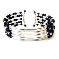 Silver and Black Memory Wire Cuff - Silver Tube Bracelet