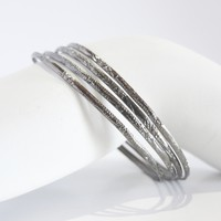 Set of 4 - Silver Stacking Bangles Bracelet