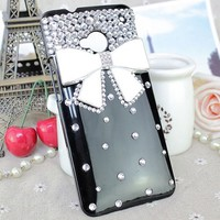 United Electek® Bling Clear Crystal Rhinestone White Bow Case Cover for HTC One M7 + United Electek Purple Velvet Pouch