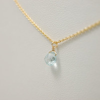 Fresh Rain Drop: minimal dainty gold filled aquamarine necklace