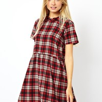 ASOS Smock Dress In Check With Collar
