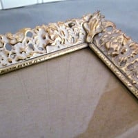 Large White and Gold Metal Picture Frame