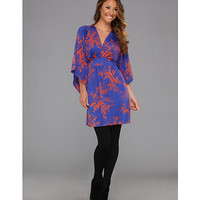 Tbags Los Angeles Deep V-Neck Kimono Sleeve Mini Dress w/ Tie Waist