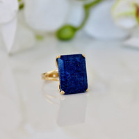 Holiday Sale - lapis ring,rectangular ring,gold ring,september birthstone ring,cocktail ring,statement ring,bridal ring