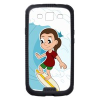 Surfing girl cartoon Samsung case