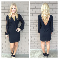 Black Long Sleeve Deep V Onka Dress