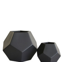 High Street Market - Black Faceted Vases