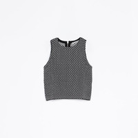 MICROJACQUARD KNIT TOP