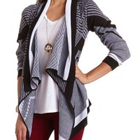 CHEVRON OPEN CARDIGAN SWEATER