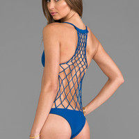 Mikoh Swimwear Xavier Crochet Detailed Back One Piece in Deep Sea