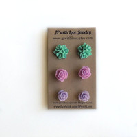 flower stud earrings, post earrings, stud earrings, purple studs, teal studs, gift under 20