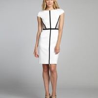 white, black and khaki cotton blend colorblock cap sleeve dress