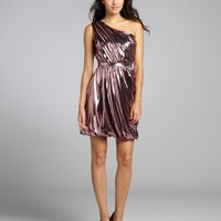tourmaline lamé one shoulder tulip skirt cocktail dress