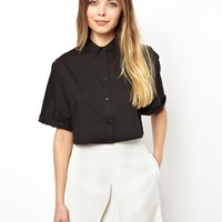 ASOS Cropped Shirt with Boxy Sleeve in Geo Jacquard