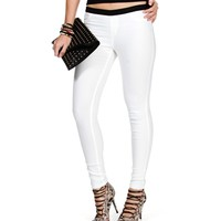 White Coated Pull On Skinny Pants
