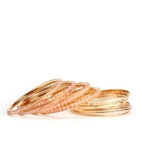 Gold Faceted Stone Bangle Set