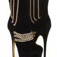 Black Gold Faux Suede Chained Ankle Boots
