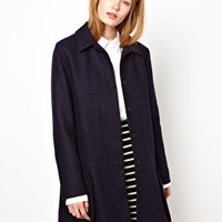 BZR Wool Coat with Pleat Skirt Detail in Fused Wool