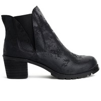 Matte Leather Ankle Boot in Black
