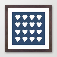 16 Hearts White on Navy Framed Art Print by Project M
