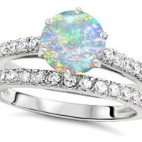 Original Star K (tm) Round 7mm Created Opal Engagement Wedding Ring