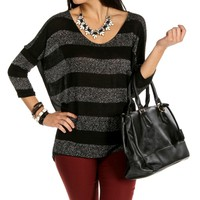 Black 3/4 Sleeve Lurex Top