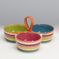 OmniWare Rio Striped 3-Section Condiment Dish