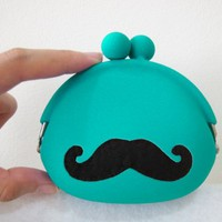 Cute Turquoise Mustache Coin Purse Coin Pouch. Fun Gift. Color Choice