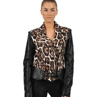 Just Cavalli Moto Leopard Jacket with Leather Sleeve