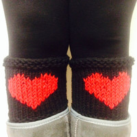 black-legwarmer-black-heart-knitted-leg ,Black Heart Knitted Leg Warmer, Black boot cuffs,Women leg warmers,Heart boot socks