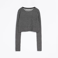 SHORT MICROJACQUARD SWEATER
