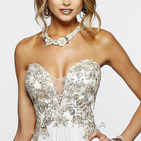 Long Deep Sweetheart Strapless Gown