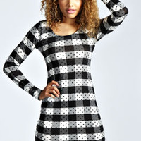 Jules Check And Spot Bodycon Dress