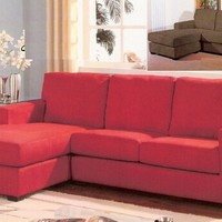 Red color fabric reversible chaise sectional sofa