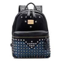 Fashion Punk Rivets Tonal Stitching Traveller Backpack