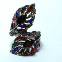 Leaves the Ring Cross Gemstone Black Crystal Colorful Decoration.