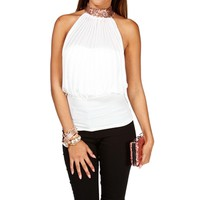 Ivory Pleated Halter Top