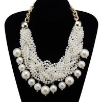 Buy Home Faux Pearl Twisted Beaded Chunky Bib Necklace Statement Necklace
