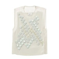 Dandelion embellished silk top