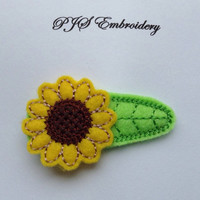 Sunflower Felt Snap Clip Barrette